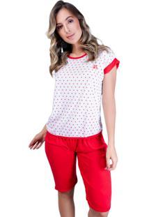 Pijama Mvb Modas Pescador Adulto Blusinha E Calça Curta Vermelho