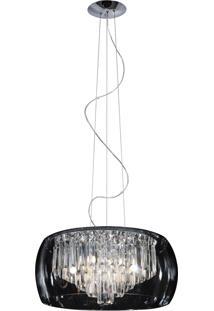Pendente Em Vidro Cristal Cromado E Transparente 40X20Cm