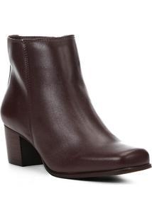 Bota Couro Cano Curto Shoestock Salto Bloco Feminina - Feminino-Vinho
