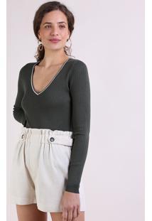 Suéter Feminino Básico Em Tricô Decote V Verde Escuro