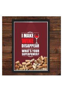 Quadro Caixa 33X43 Porta Rolha Vinho Nerderia E Lojaria Wine Super Power Preto