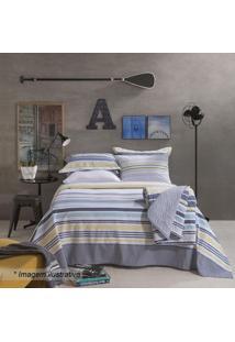 Jogo De Cama Home Design King Size- Azul Escuro & Amarelsantista