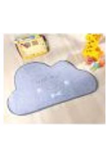 Tapete De Nuvem Pelúcia Decorativo Nuvem Cinza / Azul 82Cm X 52Cm Antiderrapante