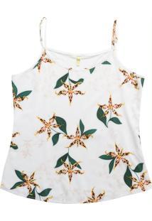 Blusa Com Alça E Estampa Floral Branco
