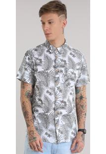 Camisa Estampada Floral Tropical Branca