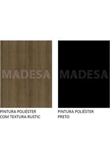 Mesa Madesa Retangular Tampo De Madeira 5364 - Rustic/Preto