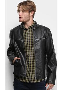 Jaqueta Ellus Leather Wash Rider Masculina - Masculino-Preto
