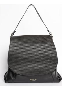 Bolsa Com Recorte Texturizado- Preta- 34X35X14Cmmr. Cat