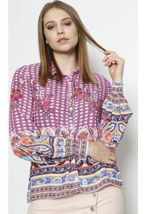 Camisa Abstrata - Rosa & Branca - Linho Finolinho Fino