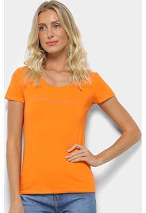 Camiseta Calvin Klein Logo Frontal Feminina - Feminino-Laranja