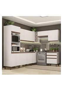 Cozinha Completa De Canto Madesa Reims 462002 Com Armário E Balcão Branco Branco