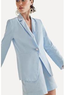 Blazer Linho Verao Eva - Feminino-Azul Claro