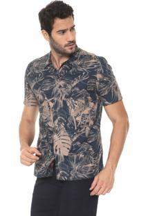 Camisa Aramis Slim Estampada Azul-Marinho/Bege