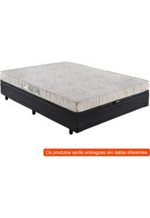 Cama Box Basic Baú Com Colchão Casal Quality D23 Bege E Preta