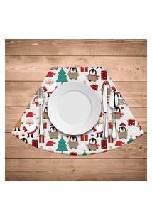 Jogo Americano Para Mesa Redonda Wevans Multi Papai Noel Bege Kit Com 4 Pçs