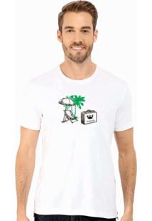 Camiseta Manga Curta Relaxado Praia Branco