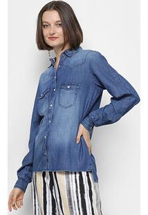 Camisa Jeans Forum Estonada Manga Longa Feminina - Feminino-Azul