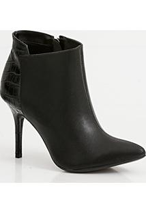 Bota Feminina Ankle Boot Recorte Croco Via Uno