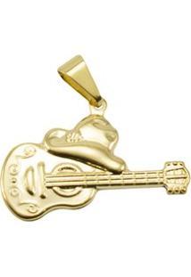 Pingente Tudo Jóias Guitarra Folheada A Ouro 18K - Unissex-Dourado