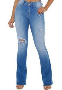 065a2442d ... Calça Jeans Denuncia Mid Rise Flare Feminino - Feminino-Azul