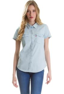 Camisa Jeans Levis Fem Short Sleeve Larissa Western Clara Azul