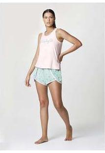 Pijama Feminino Curto Com Regata Estampada Rosa