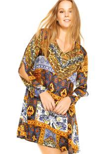 Vestido Art Fashion Recortes Amarelo/Azul