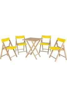 Jogo Mesa 4 Cadeiras Tramontina Potenza 10630064 Dobrável Amarelo