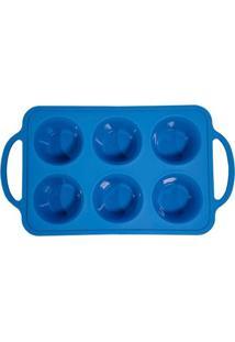 Forma Para 6 Muffins Aramada Em Silicone 18X32Cm Spicy Azul