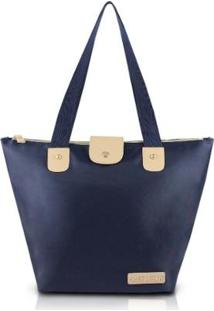 Bolsa Dobrável Jacki Design Microfibra - Feminino-Azul Escuro