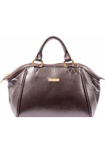 Bolsa Dalber Couro Legítimo Handbag Com Alça Tiracolo Regulável - Feminino-Marrom
