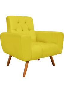 Poltrona Decorativa Pietra Suede Amarelo Com Pés Palito - D'Rossi