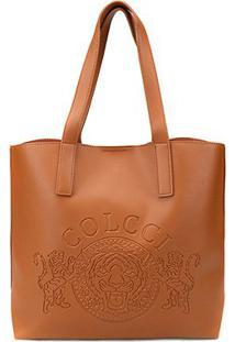 Bolsa Colcci Shopper Brasão Feminina - Feminino-Caramelo