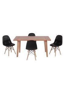 Conjunto Mesa De Jantar Em Madeira 150X80 Vértice + 4 Cadeiras Botonê - Preto