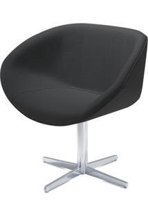 Poltrona Smile Assento Estofado Em Courino Preto Base Fixa Em Aluminio - 55842 - Sun House