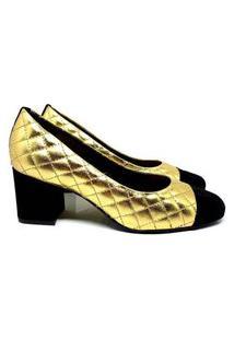 Scarpin Feminino Couro Confortável Dia A Dia Matelassê Preto+Dourado 34 Multicolorido