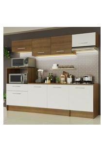 Cozinha Completa Madesa Onix 240002 Com Armário E Balcáo - Rustic/Branco 5Z9B Marrom