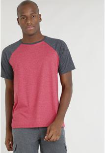 Camiseta Masculina Básica Mescla Raglan Manga Curta Gola Careca Vermelha