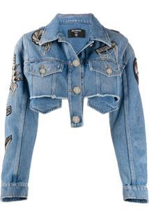 Balmain Jaqueta Jeans Cropped Com Patches De Logo - Azul