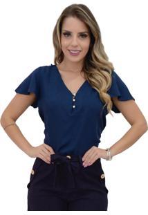 Blusa Mamorena Decote V Costas Com Renda Guipir Azul Marinho