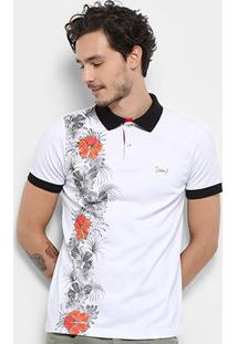 Camisa Polo Jimmy'Z Red Flower Masculina - Masculino-Branco