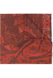 Etro Cachecol Com Bordado Paisley - Vermelho