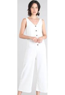 Macacão Feminino Pantcourt Com Botões Off White