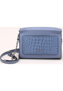 Bolsa Shoulder Bag Couro Azul Pacífico