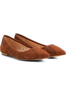 Sapatilha Couro Shoestock Lasercut Feminina - Feminino-Caramelo