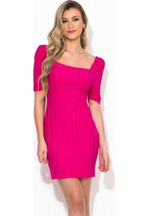 Vestido Curto Canelado Rosa