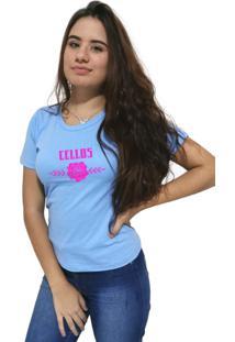 Camiseta Feminina Cellos Sigle Rose Premium Azul Claro - Kanui