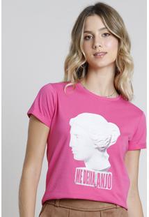 "Blusa Feminina ""Me Deixa, Anjo"" Manga Curta Decote Redondo Pink"