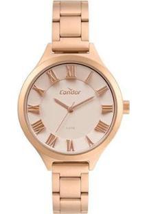 Relógio Condor Analógico Feminino - Feminino-Rose Gold