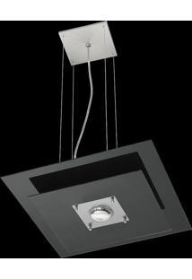 Pendente Saturno Aluminio E Vidro Lmq 132 Escovado Preto Bivolt